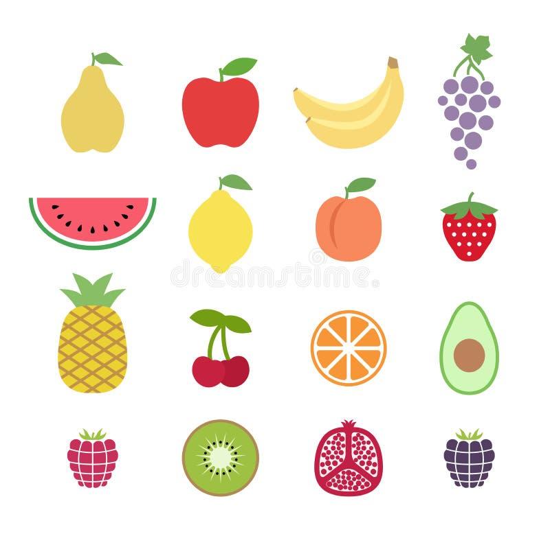 Uppsättning av färgrika clipartfrukter inställda glansiga symboler för frukt Samling av symboler för frukt för gemkonst stock illustrationer