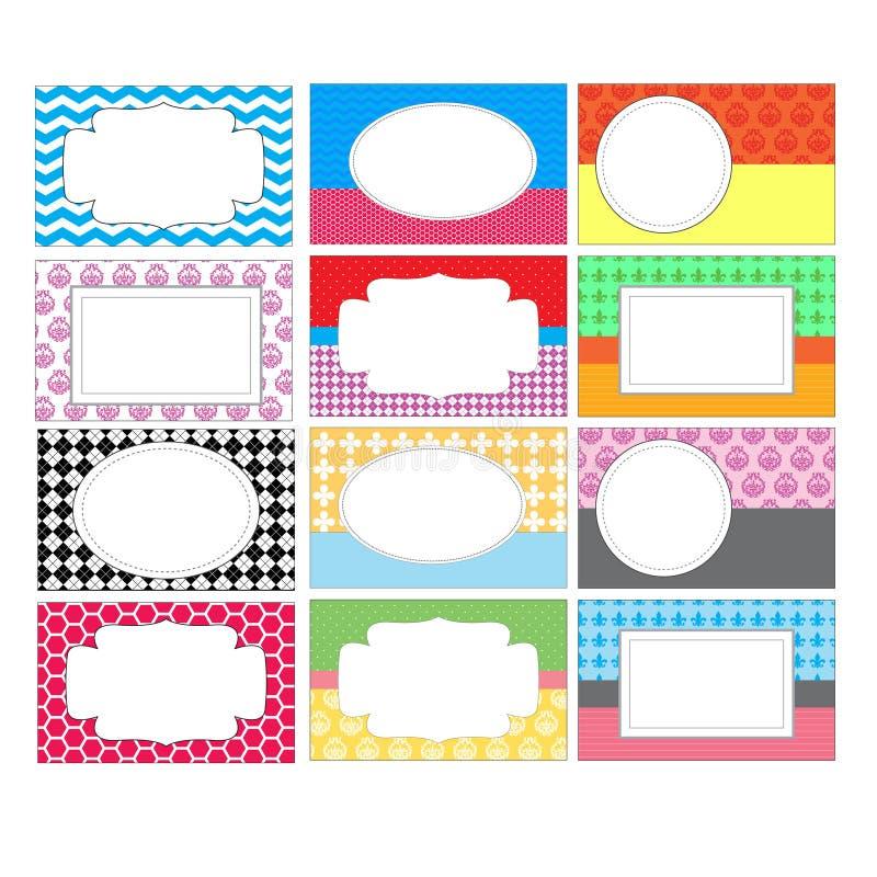 Uppsättning av färgrika etiketter stock illustrationer