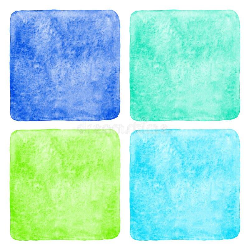 Uppsättning av färgrika fyrkantiga vattenfärgbakgrunder vektor illustrationer