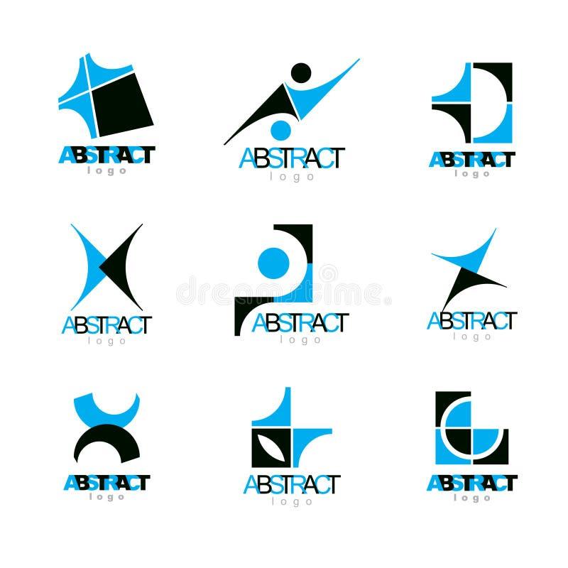 Uppsättning av färgrika geometriska former för vektorabstrakt begrepp AffärsID stock illustrationer
