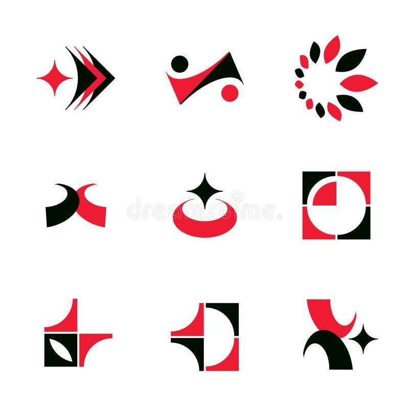 Uppsättning av färgrika geometriska former för vektorabstrakt begrepp royaltyfri illustrationer