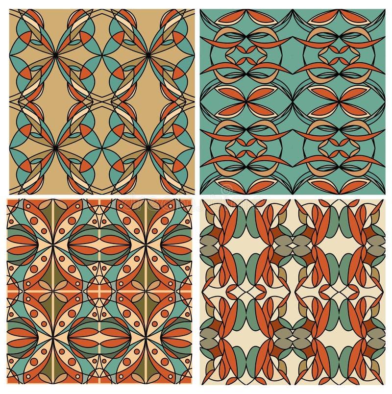 Uppsättning av färgrika geometriska mönstrade tegelplattor i nostalgiska retro färger, art décostil Beståndsdel för grafisk desig stock illustrationer