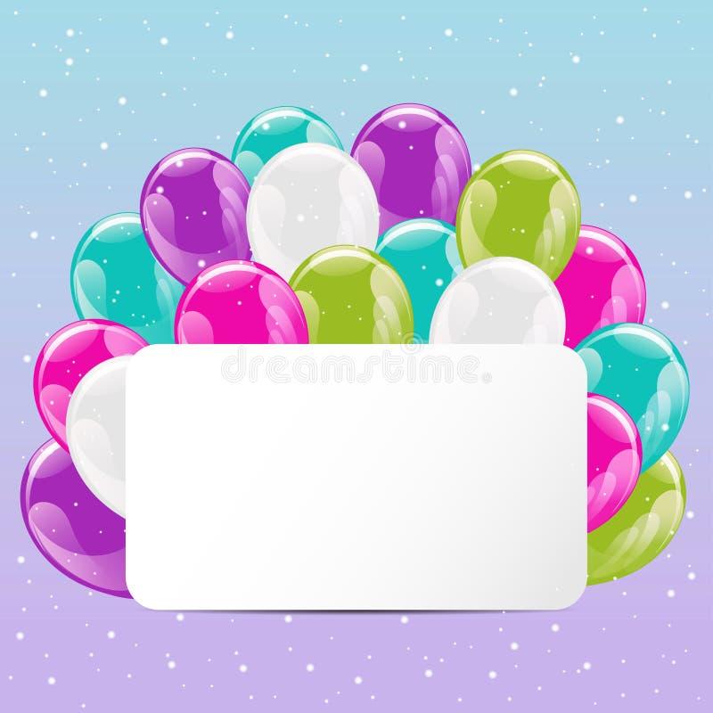 Uppsättning av färgrika glansiga ballonger stock illustrationer