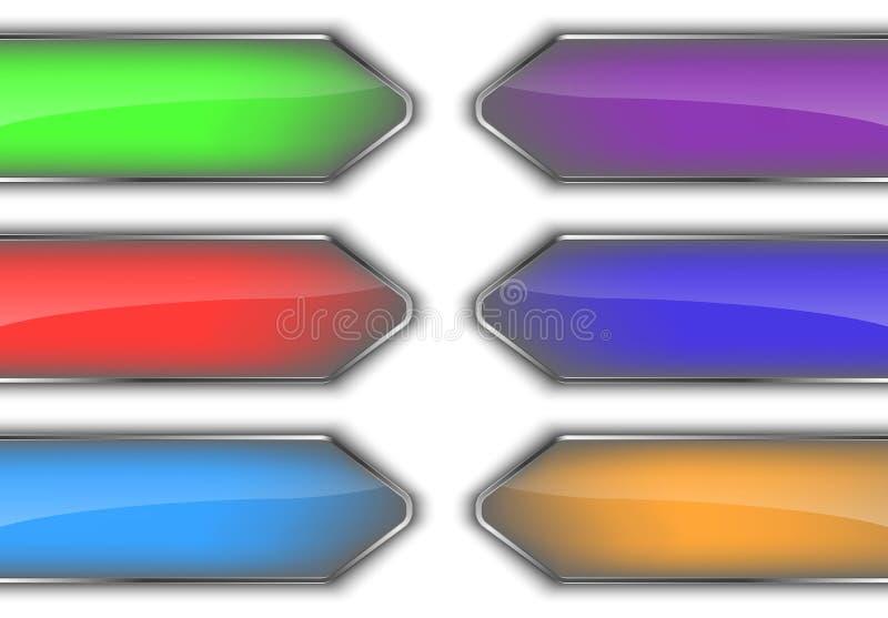Uppsättning av färgrika glansiga pilbaner stock illustrationer