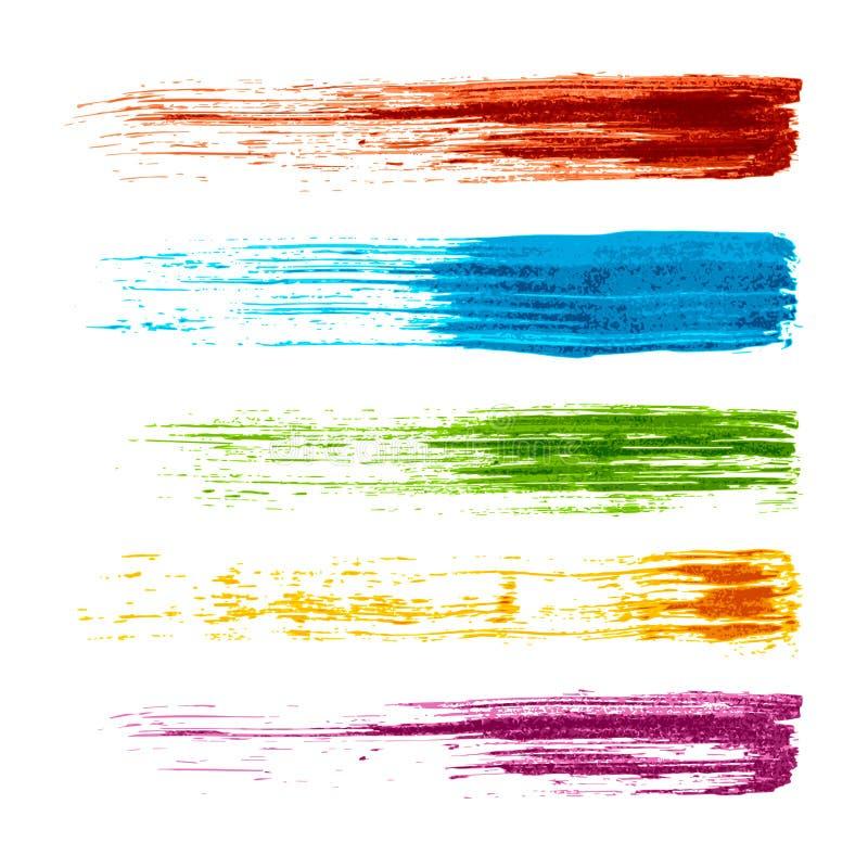 Uppsättning av färgrika grungeborsteslaglängder royaltyfri illustrationer