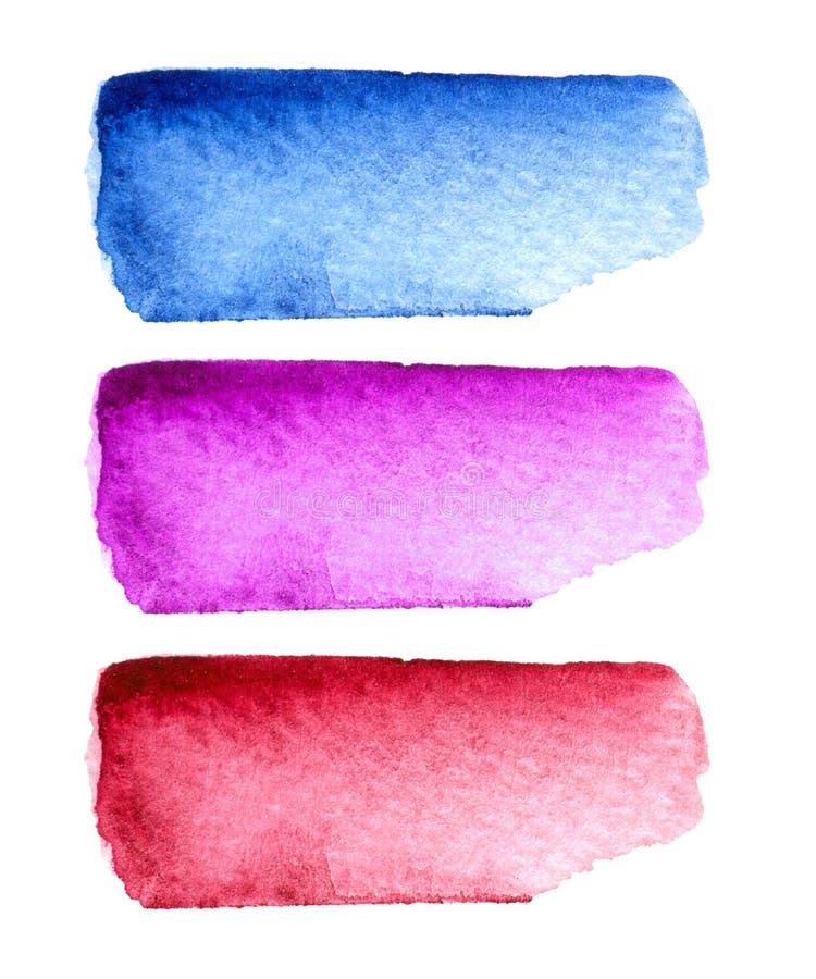 Uppsättning av färgrika hand-målade vattenfärgborsteslaglängder som isoleras på vit bakgrund royaltyfri illustrationer