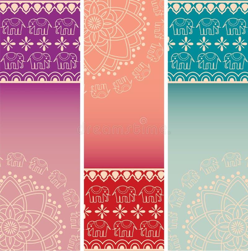 Uppsättning av färgrika indiska baner för lodlinje för hennaelefantmandala vektor illustrationer