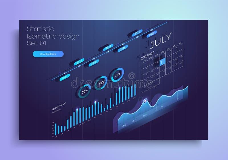 Uppsättning av färgrika infographic vektorbeståndsdelar: presentationsdiagram, statistik av data och diagram isometrisk design 3d stock illustrationer