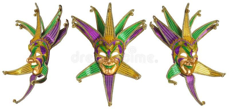 Uppsättning av färgrika isolerade Mardi Gras maskeringar royaltyfri fotografi