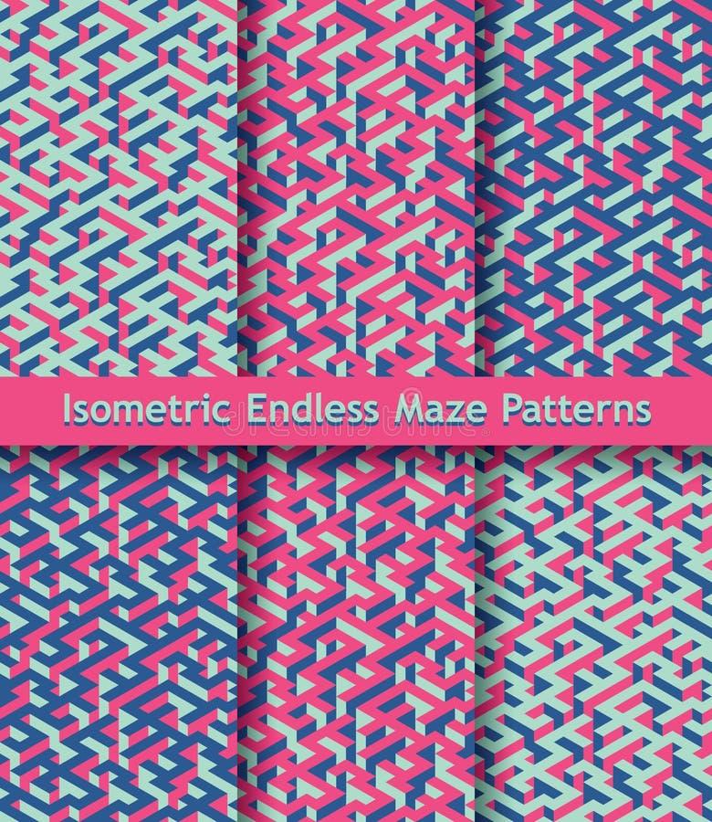 Uppsättning av färgrika isometriska labyrintmodeller seamless prydnad Ljusa rosa färger, mörker - slösa, pistaschgräsplan royaltyfri illustrationer