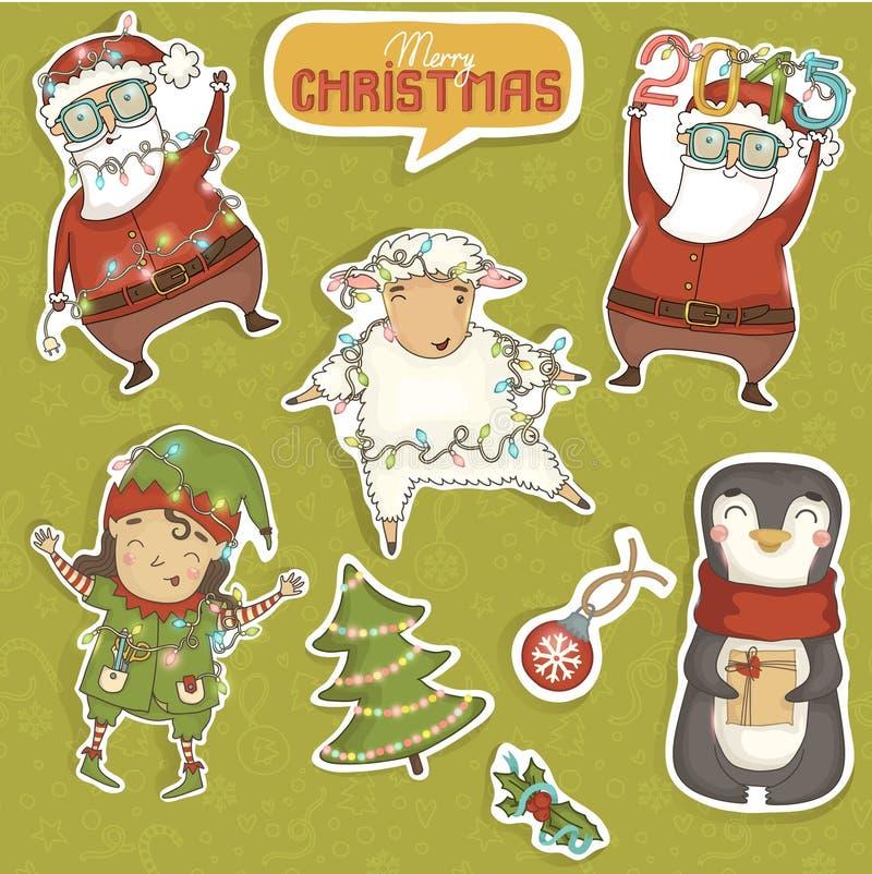 Uppsättning av färgrika jultecken och garneringar stock illustrationer