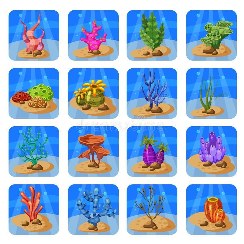 Uppsättning av färgrika koraller och alger på en blå bakgrund Naturlig undervattens- vektorillustration Tecknad filmstil som isol stock illustrationer