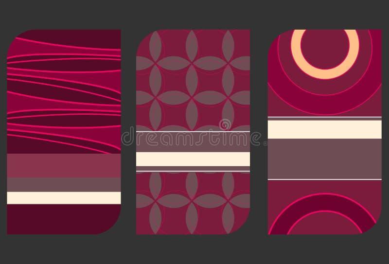Uppsättning av färgrika kortillustrationer vektor illustrationer