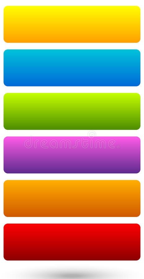 Uppsättning av färgrika 6, livlig knapp, banerbakgrunder med mellanrum s royaltyfri illustrationer