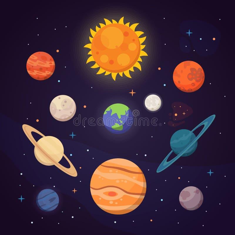 Uppsättning av färgrika ljusa planeter Solsystem utrymme med stjärnor Gullig tecknad filmvektorillustration royaltyfri illustrationer