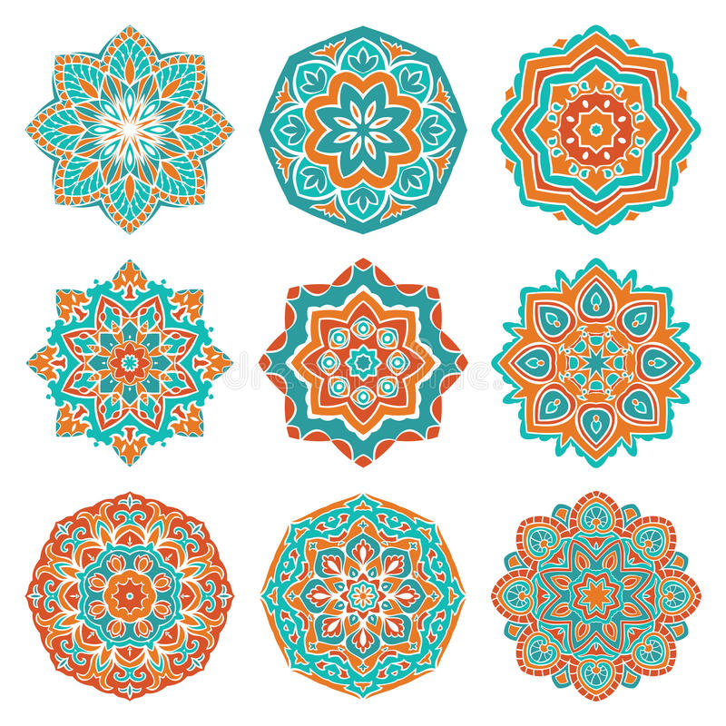 Uppsättning av färgrika mandalas royaltyfri illustrationer