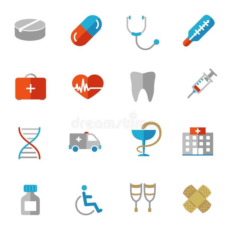 Uppsättning av färgrika medicinska symboler i plana färger stock illustrationer