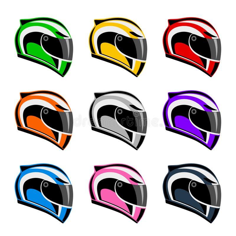 Uppsättning av färgrika motorcykelhjälmar stock illustrationer