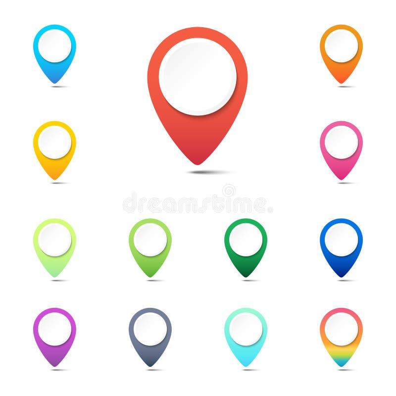Uppsättning av färgrika navigeringben-, GPS lägesymboler eller rengöringsdukknapppekare royaltyfri illustrationer