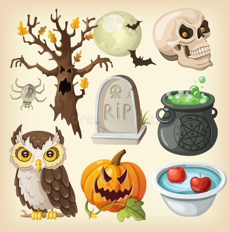 Uppsättning av färgrika objekt för halloween. stock illustrationer