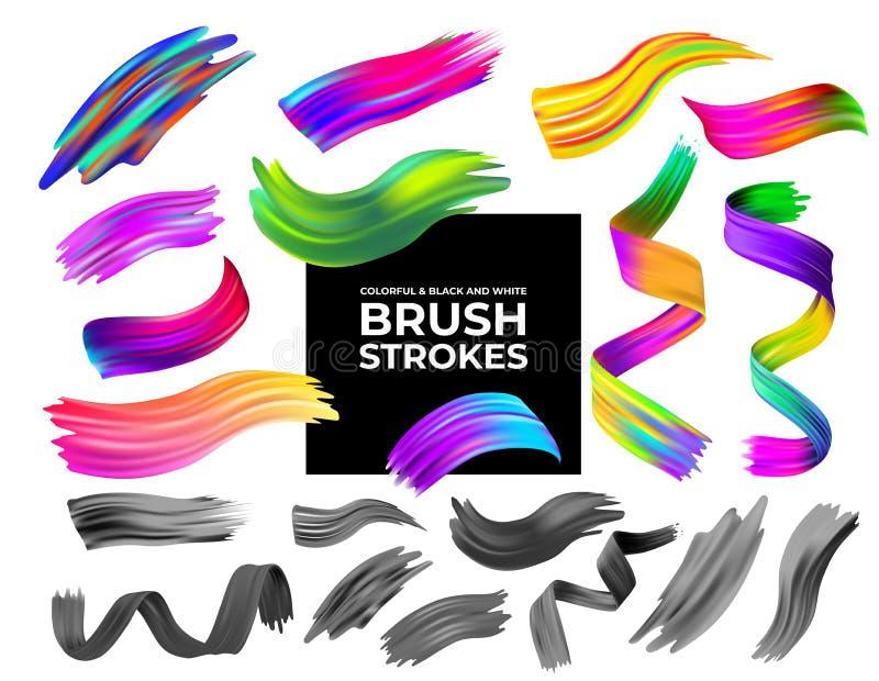 Uppsättning av färgrika och svartvita borsteslaglängder olja eller beståndsdelen för design för akrylmålarfärg Idérikt begrepp av royaltyfri illustrationer