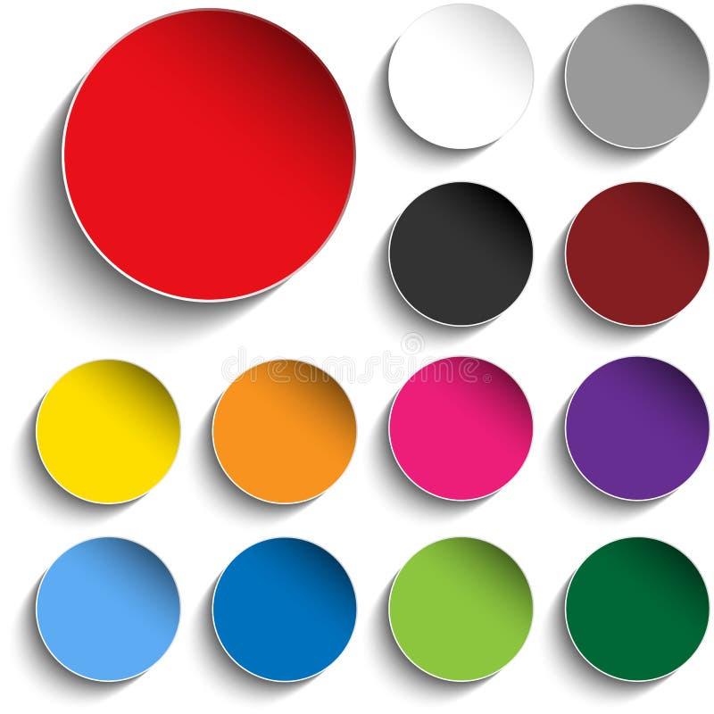 Uppsättning av färgrika pappers- cirkelklistermärkeknappar vektor illustrationer