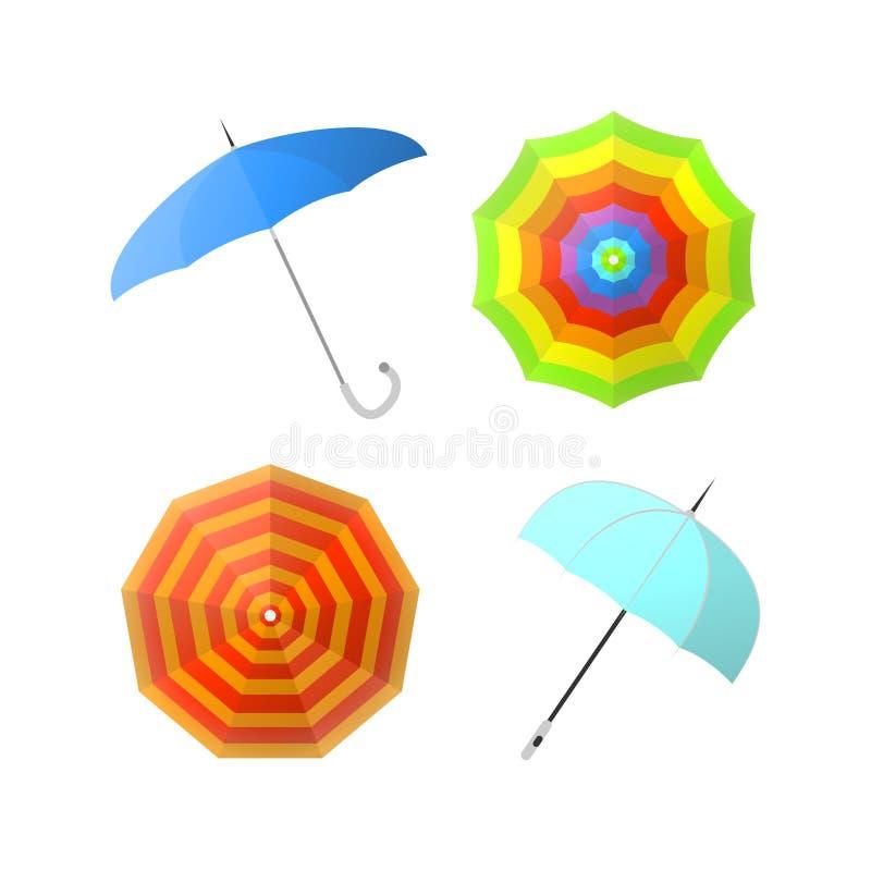 Uppsättning av färgrika paraplyer från olika vinkelvektorillustrationer stock illustrationer