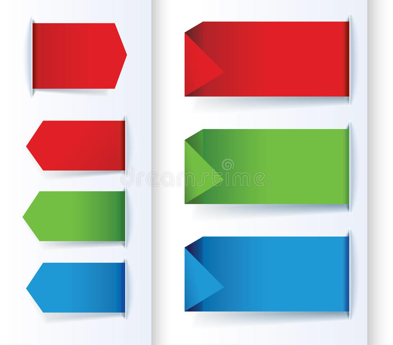 Uppsättning av färgrika pil- och designbaner. royaltyfri illustrationer