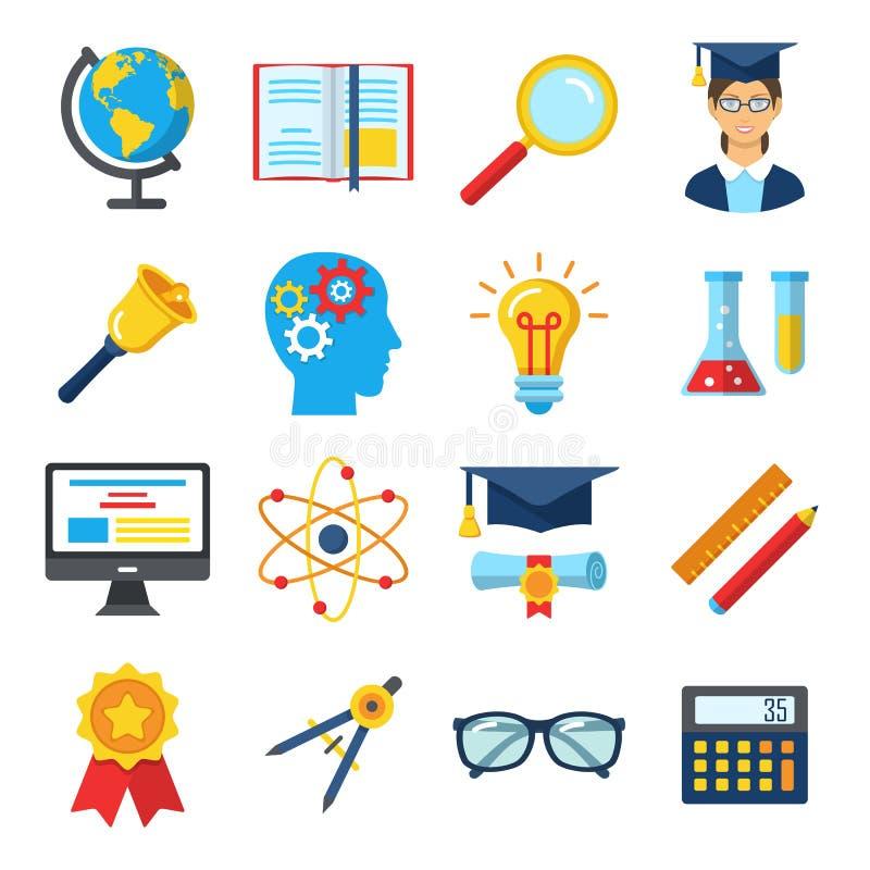 Uppsättning av färgrika plana skola- och utbildningssymboler royaltyfri illustrationer