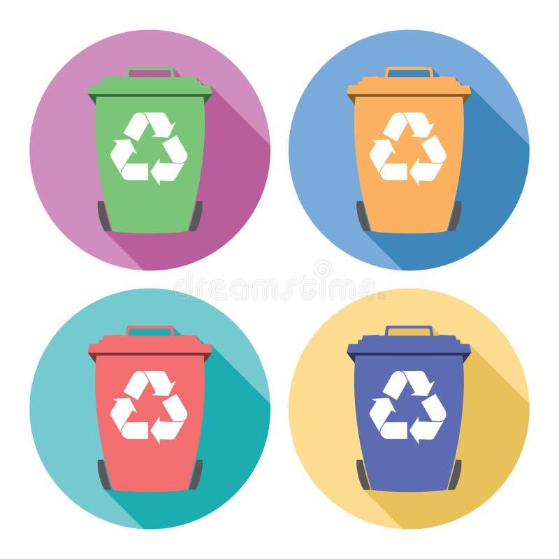 Uppsättning av färgrika plana symboler för återvinningwheeliefack stock illustrationer