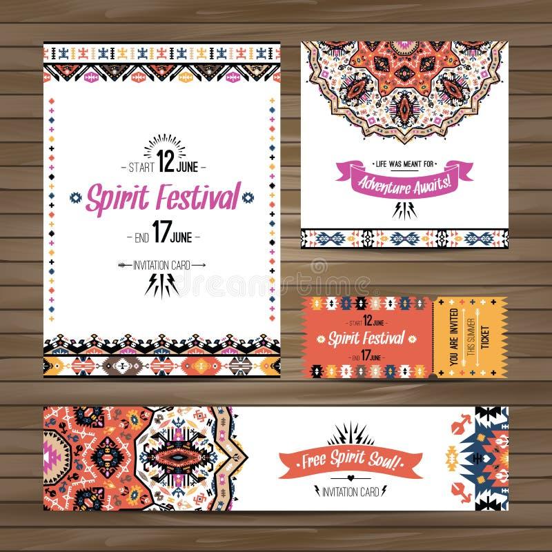 Uppsättning av färgrika reklamblad för geometrisk boho Dekorativ etnisk hälsningkort för vektor eller inbjudandesignbakgrund vektor illustrationer