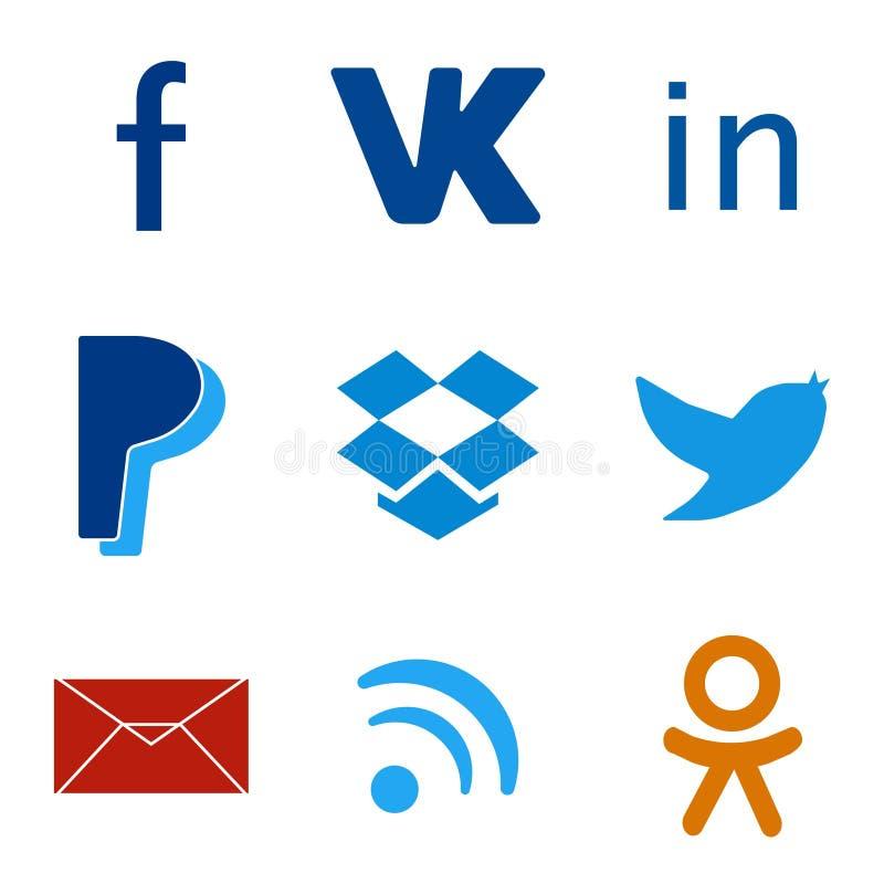 Uppsättning av färgrika rengöringsduksymboler för socialt massmedia royaltyfri illustrationer
