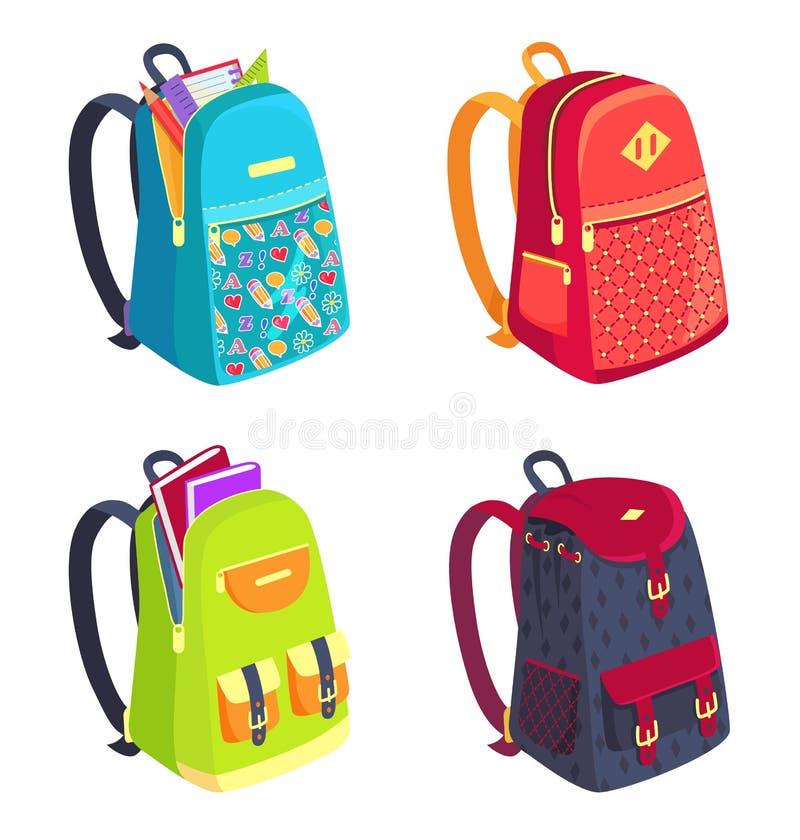 Uppsättning av färgrika ryggsäckar för flicka- eller pojkevektor royaltyfri illustrationer