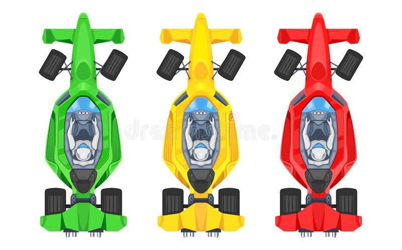 Uppsättning av färgrika snabba motoriska tävlings- bilar, formel 1 en, symboler för vektor för lägenhet för tävlings- bil för bol stock illustrationer
