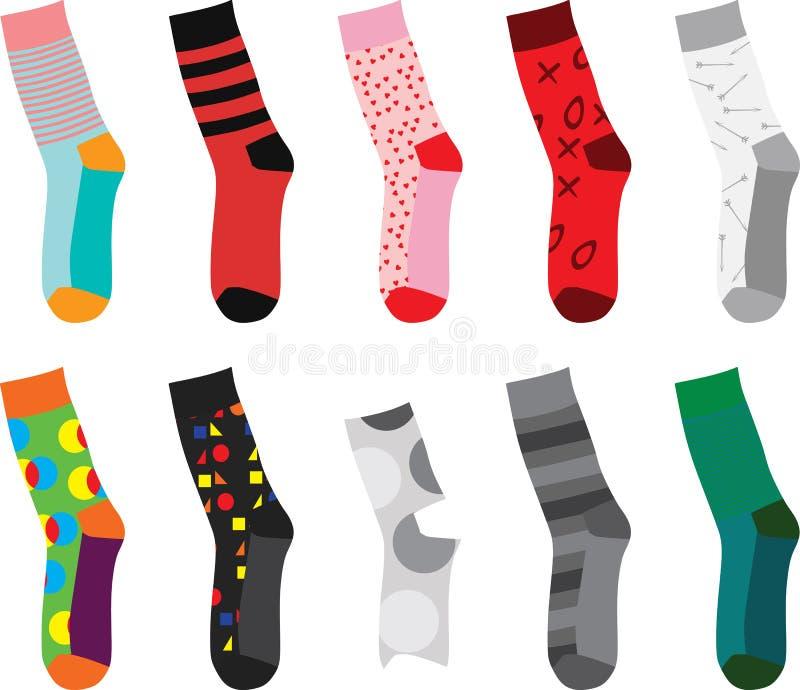 Uppsättning av färgrika sockor också vektor för coreldrawillustration stock illustrationer