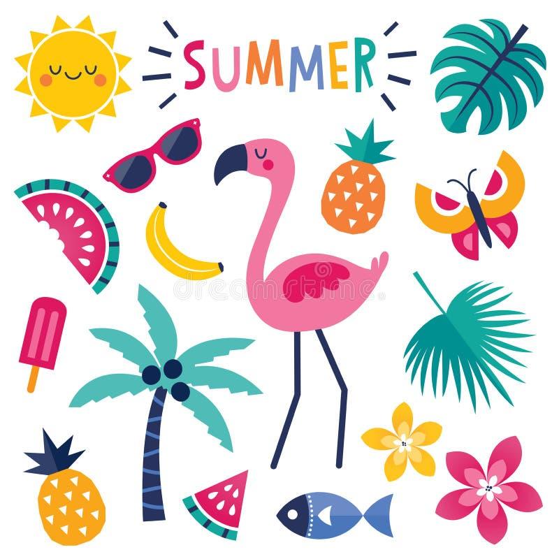 Uppsättning av färgrika sommarbeståndsdelar med den isolerade rosa flamingo royaltyfri illustrationer