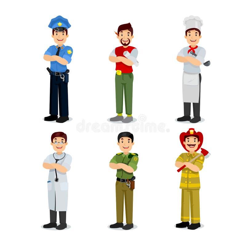 Uppsättning av färgrika symboler för stil för yrkemanlägenhet stock illustrationer