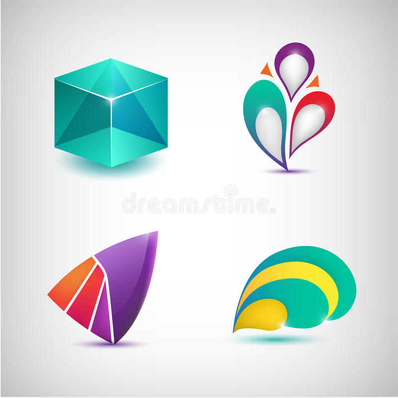 Uppsättning av färgrika symboler för vektorabstrakt begrepp, logoer royaltyfri illustrationer