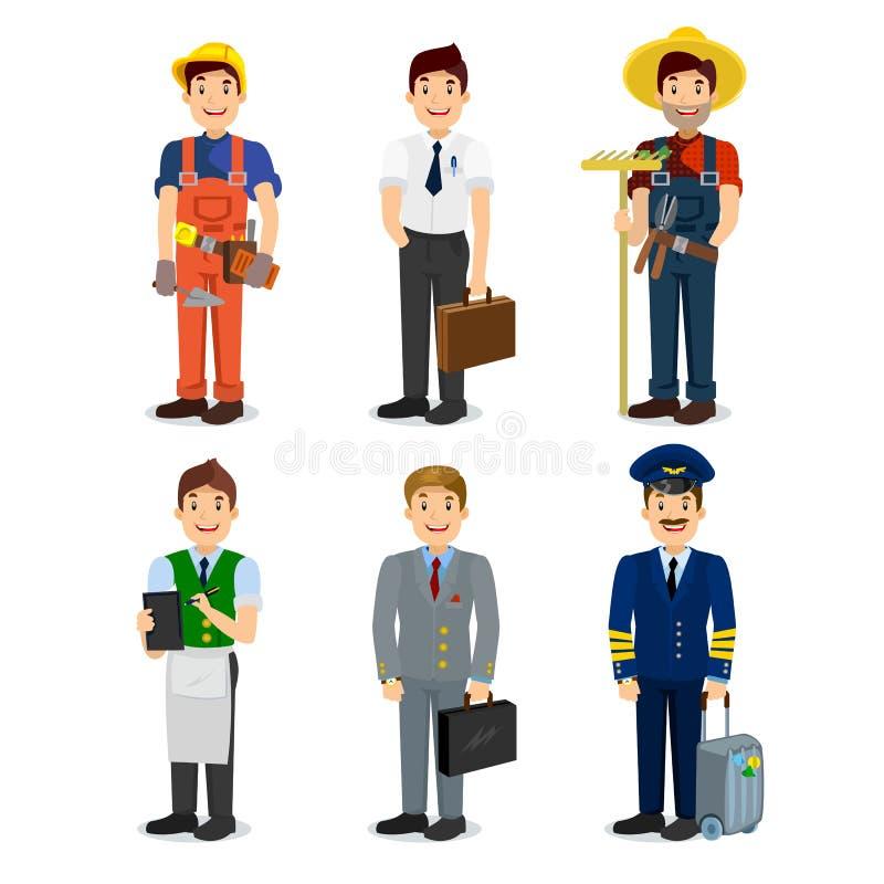 Uppsättning av färgrika symboler pilot, affärsman, byggmästare, uppassare, bonde, chef för stil för yrkemanlägenhet stock illustrationer