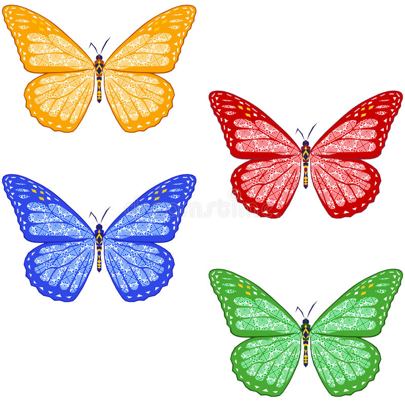 Uppsättning av färgrika texturerade fjärilar på vit bakgrund isolerat royaltyfri illustrationer