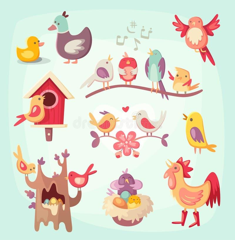 Uppsättning av färgrika vårfåglar vektor illustrationer