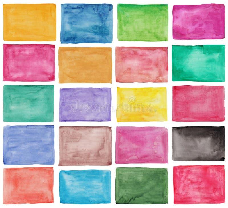 Uppsättning av färgrika vattenfärgpaletter royaltyfri fotografi