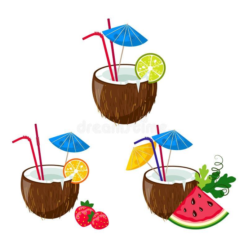 Uppsättning av färgrikt av tropiska kokosnötcoctailar stock illustrationer