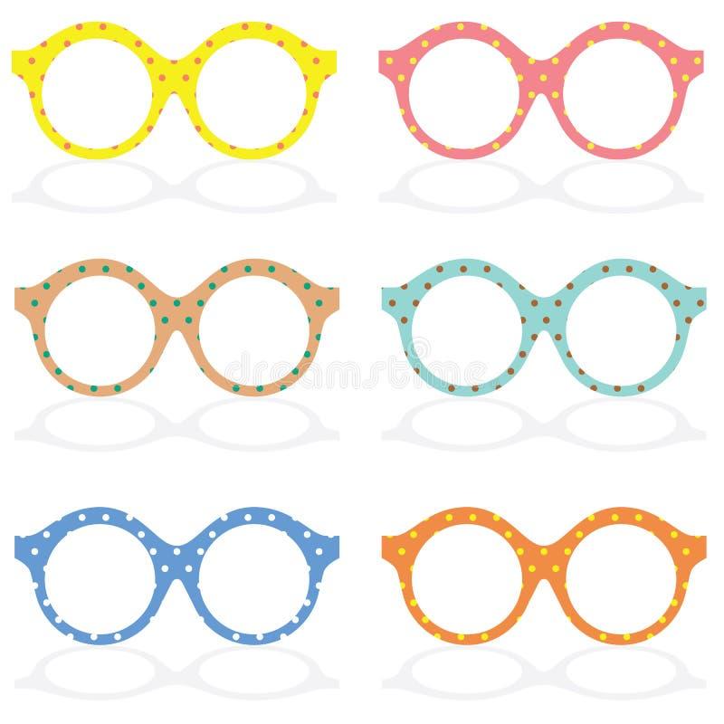 Uppsättning av färgrikt glasögon royaltyfri illustrationer