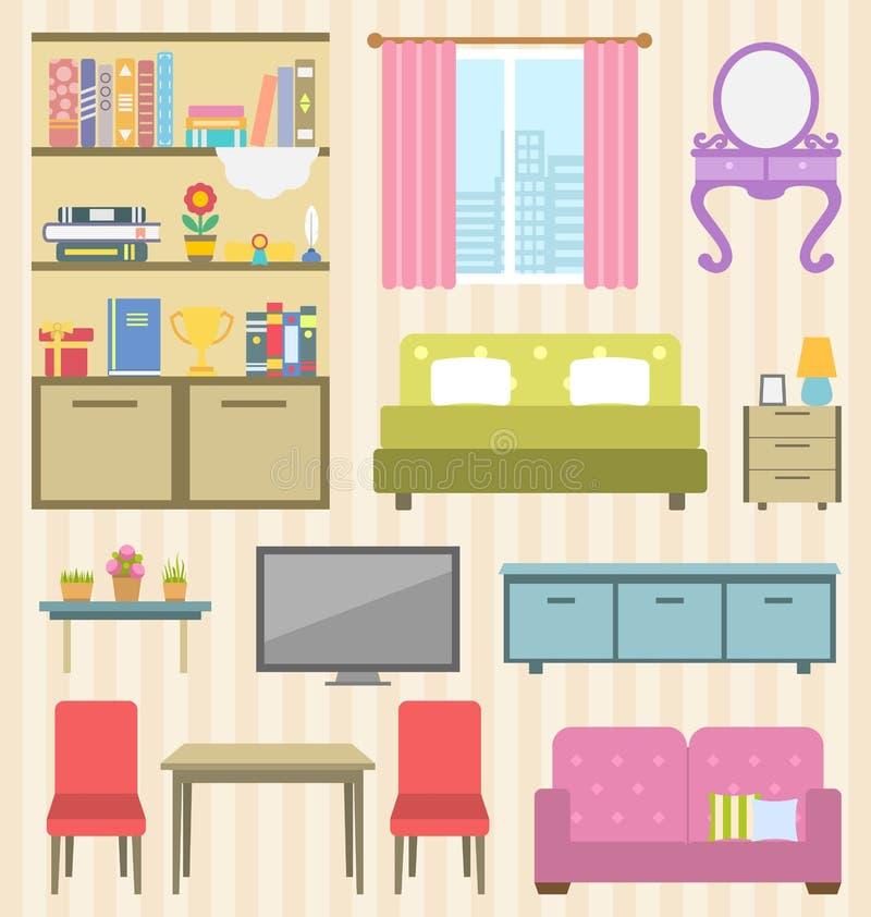 Uppsättning av färgrikt möblemang av rum för din inre av lägenheten vektor illustrationer