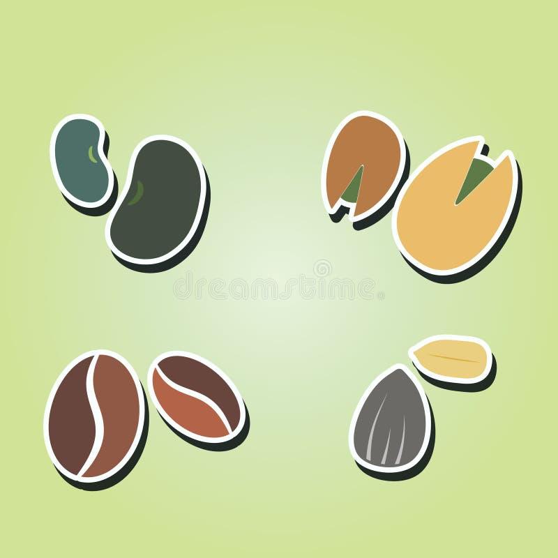 Uppsättning av färgsymboler med bönor och muttrar stock illustrationer