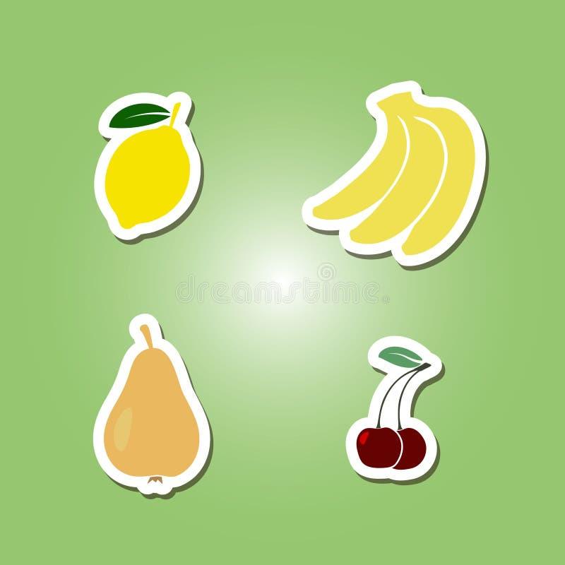 Uppsättning av färgsymboler med frukter stock illustrationer
