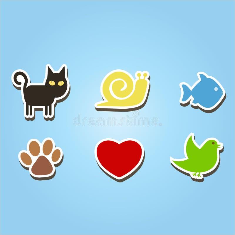 Uppsättning av färgsymboler med husdjur royaltyfri illustrationer