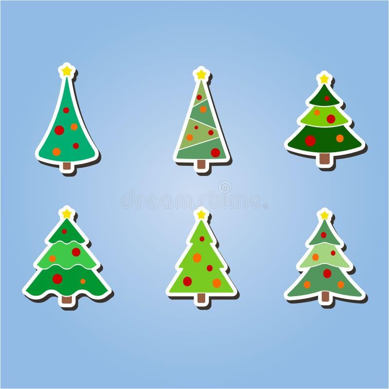 Uppsättning av färgsymboler med julgranar royaltyfri illustrationer