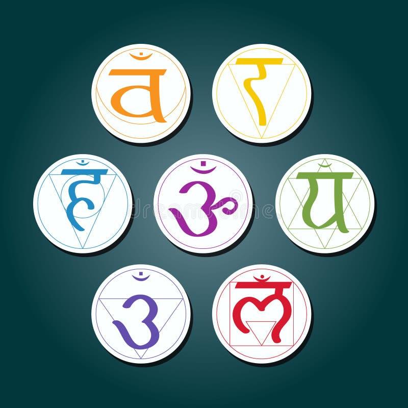 Uppsättning av färgsymboler med namn av chakras i sanskritiskt (rota Chakra, Sacral Chakra, solarplexuset Chakra, hjärta Chak vektor illustrationer